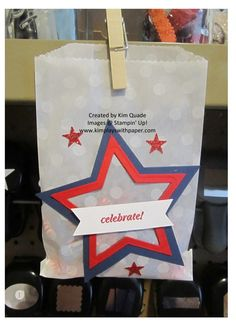 stampin up patriotic treat bags. stars, red, white and blue. 4th of july gifts.
