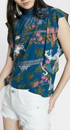 print lace top