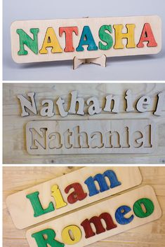 These personalized wooden name puzzles makes a great gift for any occasion, including gifts for newborns or some of those early birthdays. A fun and personalized addition to any nursery! | Made on Hatch.co by independent designers and makers who care.