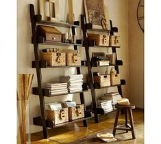 Store and display books and decor with bookshelves and cabinet furniture from Pottery Barn. Our bookshelves feature beautiful designs and solid construction. Wall Shelf With Hooks, Wood Wall Shelf, Wall Shelves, Book Shelves, Leaning Shelves, Leaning Ladder, Bedroom Shelves, Wooden Shelves, Display Shelves