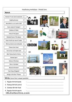 Vocabulary worksheet containing BRITISH ICONS & LANDMARKS. It has two sections: Match words and pictures (matching exercise) and Write the Words (reading & spelling. Matching Worksheets, Vocabulary Worksheets, Printable Worksheets, Education English, Teaching English, English Lessons, Learn English, Back To School Art Activity, English Picture Dictionary
