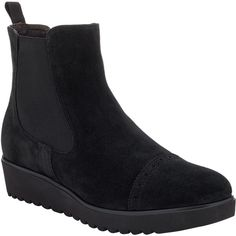 John Lewis Paulina Chelsea Boots, Black Suede (1.065 NOK) ❤ liked on Polyvore featuring shoes, boots, ankle booties, wedge ankle boots, black ankle boots, black suede booties, flat black booties and wedge booties