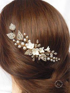 Floral gold comb Bridal gold comb Floral bridal comb Floral