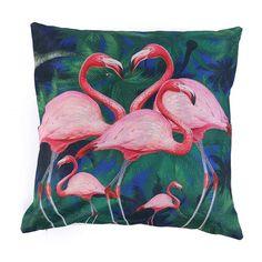 Flamingo Pillow Covers Cotton Linen Vintage Cushion Cover Decorative Pillowcase Bedroom Sofa Decoration