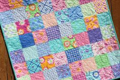 Pink Aqua Violet Baby Girl Quilt Hubba Hubba Blue White Floral Modern Handmade Blanket Nursery Bedding