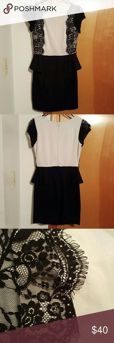 Cream and black dress Worn once, beautiful, simple, easy to match or spice up. Iz Byer Dresses