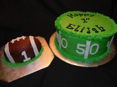 1st birthday football field and smash ball cake