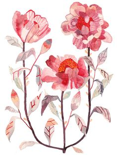 Tree Peony - Original painting - Michelle Morin - unitedthread Etsy shop - Red, Watercolor - Original Painting