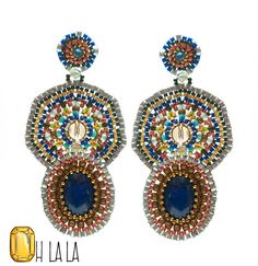 Lapis Turquoise and Gold Fill Statement Swarovski par OhlalaJewelry