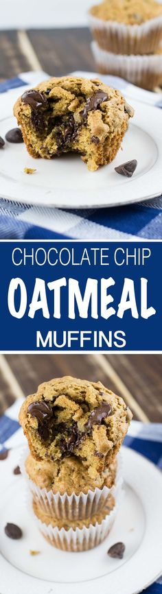 Healthy Oatmeal Chocolate Chip Cookie Muffins recipe made using whole wheat pastry flour, coconut oil, applesauce, and other healthy ingredients.