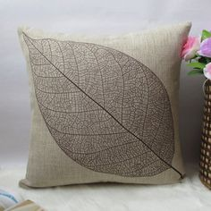 "1 cotton linen leaf  pattern decorative pillow cover /  cushion cover / simple design 18"" on Etsy, $18.20 AUD"