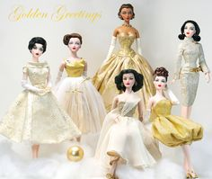Various Gene Marshall dolls in Holiday Gold ~ Image and styling by Tom Logan ~ The Studio Commissary ~ JS Gene, wig by Ilaria, dress by Bogue's Vogues;  Bobby Taylor custom gold version of Holiday Magic;  Calendar Shot restyled by Kathy in OR, gown by Chris Stoeckel  Special Scene Madra in Beautiful But Broke by Bobby Taylor;  JS Gene, wig by Ilaria, bubble dress by Bobby Taylor  JS Gene, wigcap restyle by Kathy in OR, Convention dress