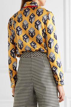 Gucci - Pussy-bow Printed Silk-twill Shirt - Yellow - IT
