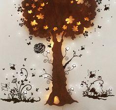 Lampe Schlummerlampe Baumlampe Elfen Feen M1263 von deinewandkunst auf DaWanda.com