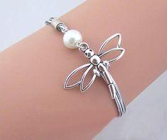 Jewelry Dragonfly Bracelet Silver rope bracelet by DelicateGift Silver Bracelets, Silver Jewelry, Silver Earrings, Gold Jewellery, Silver Ring, Diamond Jewelry, Charm Jewelry, Jewelry Gifts, Dragonfly Jewelry