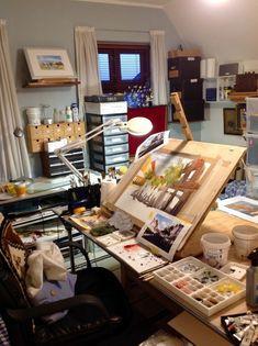 60 Most Popular Art Studio Organization Ideas and Decor - DIY Desk Ideen Art Studio Decor, Art Studio Room, Art Studio Design, Art Studio At Home, Painting Studio, Studio Ideas, Studio Spaces, Design Art, Studio Decorating