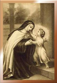 """Jesus asks """"what is your name?"""" The saint answers him, """"Theresa of Jesus."""" And He answers back, """"I am Jesus of Theresa. Catholic Art, Catholic Saints, Religious Art, Sainte Therese, St Therese Of Lisieux, Vintage Holy Cards, Blessed Mother Mary, Urban, Centenario"""
