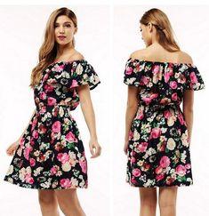 Spring Summer clothing floral print pattern casual dresses vestidos