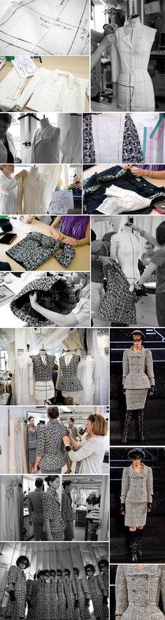 Chanel haute couture Jacket - step by step - watch and see! Chanel Couture, Pattern Cutting, Pattern Making, Textile Manipulation, Couture Sewing Techniques, Tailoring Techniques, Modelista, Chanel Jacket, Lesage