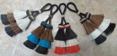horsehair tassels:  doubled  horsehair tassels  with 3 layers of horsehair 4 inch Beyond Unique by Knotatail on Etsy