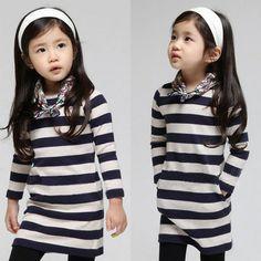 2014 spring paragraph stripe girls clothing baby child long-sleeve dress qz-1199 US $8.16