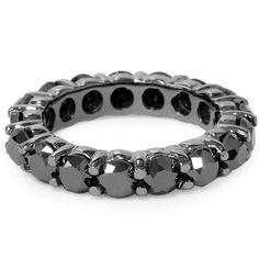 Black Diamond Eternity Ring 5.00CT Back Diamond Wedding Ring Black Gold Prong Eternity Ring Black Gold 14K Anniversary Wedding Band by Pompeii3 on Etsy https://www.etsy.com/listing/171043515/black-diamond-eternity-ring-500ct-back