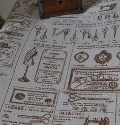 Coupon tissu imprimé mercerie retro lin et coton beige marron : Tissus pour Patchwork par charmants