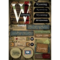 Scrapbook Customs - United States Collection - Wyoming - Cardstock Stickers - Patchwork at Scrapbook.com