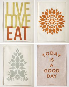 recreate these tea towels with iron-on transfer