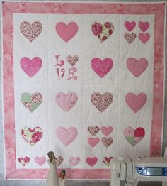 (7) Name: 'Quilting : Love Hearts Cot Quilt