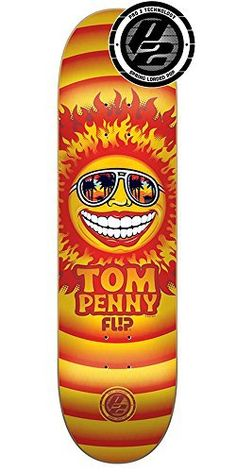 Flip Penny Sun Pro P2 Skateboard Deck – Orange – 31.5in x 8.0in: Turn Penny Solar Professional P2 Skateboard Deck – Orange – 31.5in x 8.0in