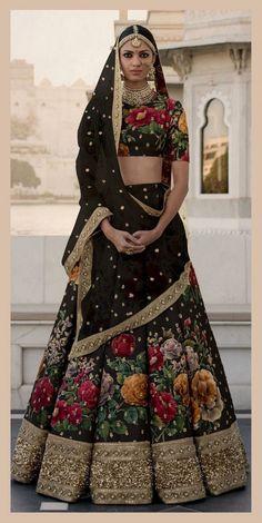 Art Silk Lehenga Choli In Black Colour Indian Bridal Lehenga, Indian Bridal Wear, Indian Wedding Outfits, Indian Outfits, Sabyasachi Lehenga Bridal, Bridal Outfits, Indian Sarees, Anarkali, Floral Lehenga