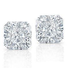 Radiant cut diamond studs.  WOW