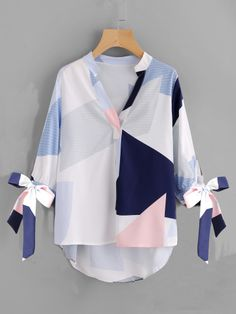 Cheap printed blouse, Buy Quality fall blouses directly from China blouse tie Suppliers: Sheinside V Neck Patchwork Bow Abstract Geometric Print Blouse Tie Cuff High Low Half Sleeve Top 2017 Women's Casual Fall Blouse Tie Blouse, V Neck Blouse, Shirt Blouses, Spring Shirts, Casual Fall, Women's Casual, Mode Hijab, Blouse Online, Printed Blouse