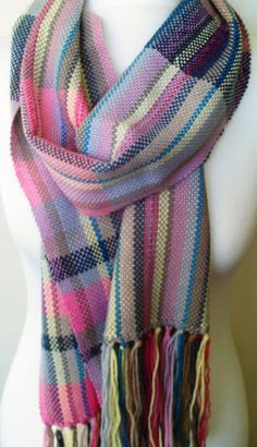 Handwoven Scarf - Woven Scarf - Luxurious Fibre - Merino Alpaca Cotton - Pink Blue Yellow and Neutrals by SarahandTheMoon