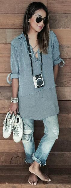 #sincerelyjules #spring #summer #besties |Pinstripe Long Lace Up Tunic + Schredded Denim