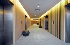 Elevator Lobby, vertical slats with color between. Colors are weak, but concept is there.