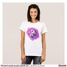 Women's pink purple splash yin and yang volleyball T-Shirt - Fashionable Women's Shirts By Creative Talented Graphic Designers - #shirts #fashion #design #fashiondesign #designer #fashiondesigner #style