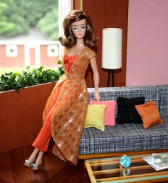 Catwoman Barbie Re-Dressed with Mid-Century Living Room Diorama