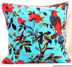 Indian Turquoise Bird of Paradise X Velvet Pillow Cover Decorative Home Decor Cushion Cover Throw Gypsy Velvet Fabric Sofa Case Blue Cushions, Velvet Cushions, Cushion Fabric, Fabric Sofa, Jaipur, Pattern Weights, Traditional Pillows, Deco Boheme, Motif Floral