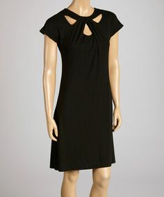 Another great find on #zulily! Black Twist-Front Cap-Sleeve Dress by Fresh Produce #zulilyfinds