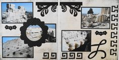 Athens travel scrapbook 2 page cruise layout of the ruins at the Acropolis with a flourish from Cricut's Reminisce and Greek key from Picturesque - from Travel Album 10 - Athens, Greece.
