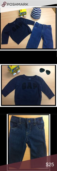 💟 2 FOR 1: Gap sweater + LuckyBrand jeans 💟 Selling this trendy outfit 2 FOR 1 but each item can be sold separately. ✨BabyGap sweatshirt, soft cotton, great condition, 12-18 m. ✨Lucky Brand Jeans, 🆕, 18 m. GAP Shirts & Tops Sweatshirts & Hoodies