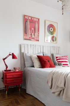 Lucas chose red to be the main color for the bedroom; he likes feeling energized when he wakes up.