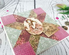 Learn to makr this SANTORO®'s Willow Patchwork Card Tutorial with Free Printable Template Christmas Birthday, Christmas Cards, Patchwork Cards, Craft Tutorials, Free Printables, Projects To Try, Paper Crafts, Gift Wrapping, Templates