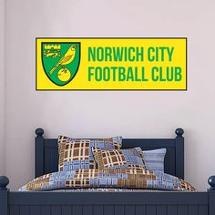 Shop Norwich City FC Football Gifts, Wall Stickers, Murals & Art in our online store. NCFC Bedroom Decor, better than posters or wallpaper. Norwich City Football, Norwich City Fc, Mural Wall, Wall Art, City Bedroom, Football Bedroom, Bedroom Furniture, Bedroom Decor, Football Stickers