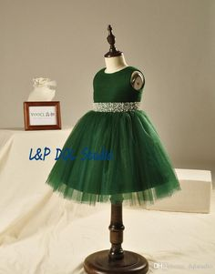 Tea-Length Flower Girls Dresses Dark Green Ball Gown Girls Pageant Dresses with Sparking Sash Crystal with Beads Pearls Girls Party Gowns Girls Pageant Dresses Flower Girls Dresses Flower Girl Dresses Online with $99.0/Piece on Dqlstudio's Store | DHgate.com