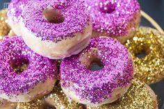 Purple and gold glitter donuts! ROMANTIC CITY CHIC WEDDING IDEAS www.elegantwedding.ca
