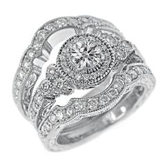 three stone diamond halo ring this exquisite three stone ring features a 20 carat round center diamond nestled between two brilliant 50 carat - 3 Piece Wedding Rings
