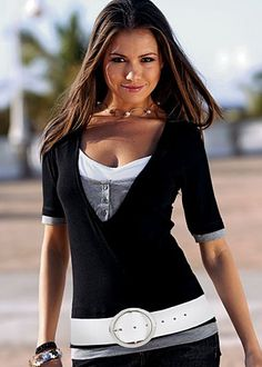 V-neck layered top ~ This layer look top in pure cotton is the very definition of cute and comfy.
